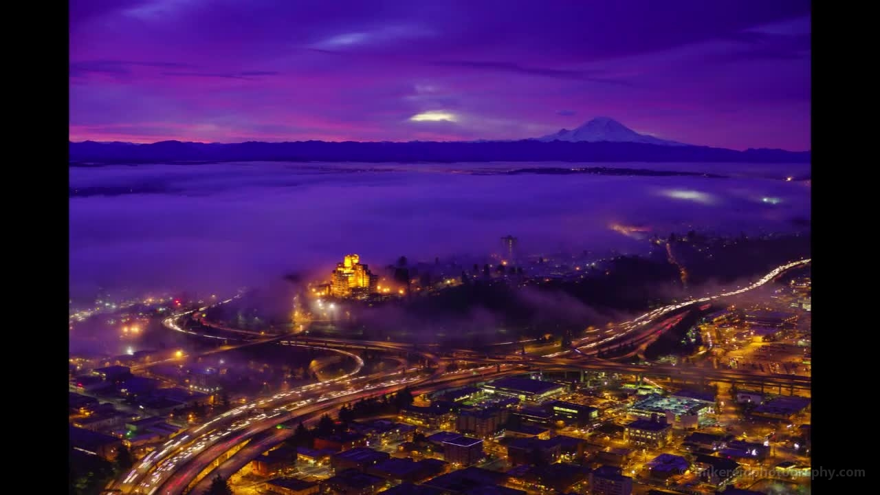 Seattle Sky View Observatory Foggy Sunrise Time Lapse