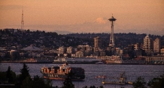 Elliott Bay Space Needle then Mount Baker