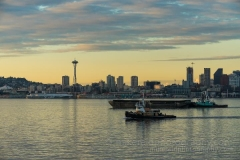 Elliott Bay Working Harbor Space Needle : sunset, sunrise, seattle, northwest photography, dramatic, beautiful, washington, washington state photography, northwest images, seattle skyline, city of seattle, puget sound, aerial san juan islands, reid, mike reid photography