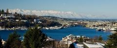 Lake Union Queen Anne Olympic Mountains First Snow : sunset, sunrise, seattle, northwest photography, dramatic, beautiful, washington, washington state photography, northwest images, seattle skyline, city of seattle, puget sound, aerial san juan islands