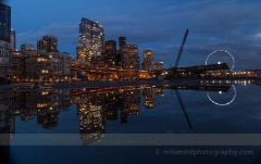 Pool of Seattle Cityscape Radiance : sunset, sunrise, seattle, northwest photography, dramatic, beautiful, washington, washington state photography, northwest images, seattle skyline, city of seattle, puget sound, aerial san juan islands, reid, mike reid photography