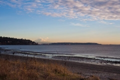 Rainier Afar from Discovery Park Beach : sunset, sunrise, seattle, northwest photography, dramatic, beautiful, washington, washington state photography, northwest images, seattle skyline, city of seattle, puget sound, aerial san juan islands, reid, mike reid photography