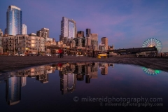 Seattle Cityscape Reflected : sunset, sunrise, seattle, northwest photography, dramatic, beautiful, washington, washington state photography, northwest images, seattle skyline, city of seattle, puget sound, aerial san juan islands