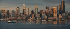 Seattle Dusk Skyline from Alki Panorama
