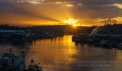 Seattle Ship Canal Sunrise : sunset, sunrise, seattle, northwest photography, dramatic, beautiful, washington, washington state photography, northwest images, seattle skyline, city of seattle, puget sound, aerial san juan islands, reid, mike reid photography